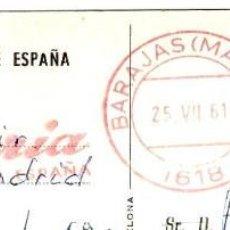 "Sellos: RODILLO ""IBERIA - BARAJAS (MADRID)"" - 25.VII.61 - EN TP IBERIA - SEGOVIA - ACUEDUCTO - 143X90MM.. Lote 263035165"