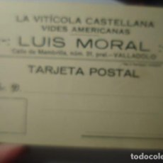 Sellos: TARJETA POSTAL VALLADOLID LUIS MORAL LA VITICOLA CASTELLANA VINO FACTURA 1924 HISTORIA POSTAL. Lote 263218220