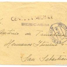 Sellos: ESPAÑA. GUERRA CIVIL. PROVINCIA DE CASTELLÓN. BENICASIM A SAN SEBASTIAN. FRONTAL CON CENSURA B55.1. Lote 266510953
