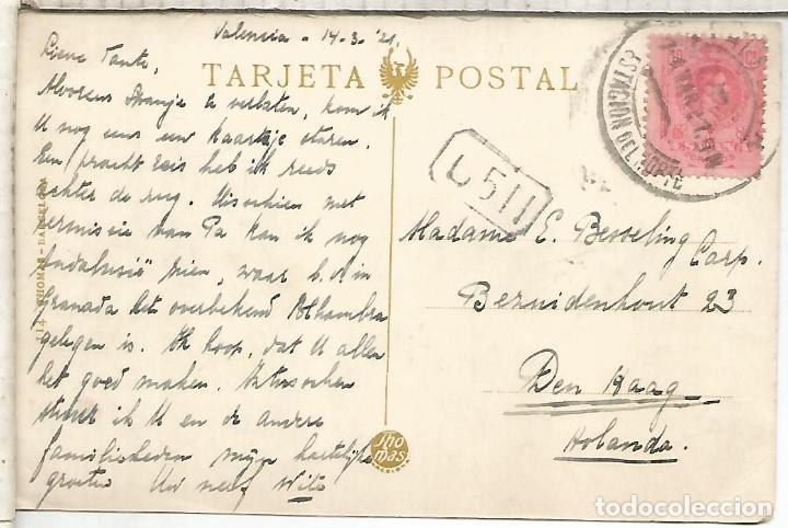 VALENCIA TP CON MAT ESTACION DEL NORTE 1921 SELLO ALFONSO XIII (Sellos - Historia Postal - Sello Español - Sobres Circulados)