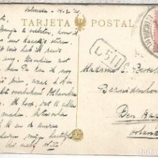 Timbres: VALENCIA TP CON MAT ESTACION DEL NORTE 1921 SELLO ALFONSO XIII. Lote 268806384