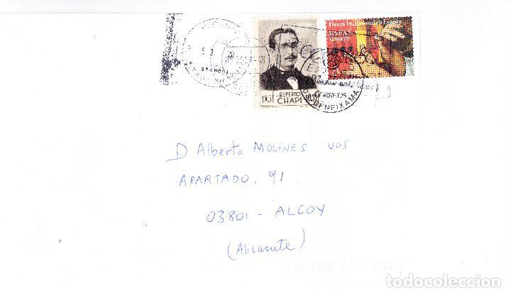 CURIOSO SOBRE CIRCULADO BENEJAMA-ALCOY, CON 2 MATASELLOS DE ALICANTE Y BENEJAMA Y VIÑETA VILLENA (Sellos - Historia Postal - Sello Español - Sobres Circulados)