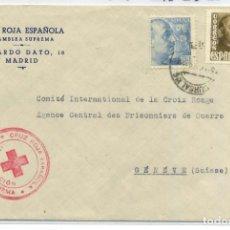 Sellos: ESPAÑA. GUERRA CIVIL. SOBRE CON MEMBRETE CRUZ ROJA Y SELLO DE TAMPON ROJO. DIRIGIDO A GINEBRA 1949. Lote 269193003