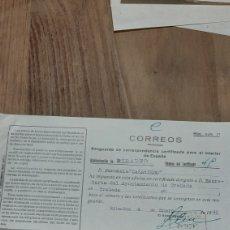 Sellos: 1949 RESGUARDO CERTIFICADO RIBADEO FARMACIA CASARIEGO RIBADEO LUGO. Lote 269292518
