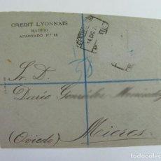 Sellos: SOBRE CREDIT LYONAIS. CERTIFICADO A MIERES. 1929. SELLO LACRE. ASTURIAS. Lote 269732503