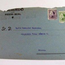 Sellos: SOBRE IZQUIERDO. CIUDAD REAL A MIERES. 1931. ASTURIAS. Lote 269732613