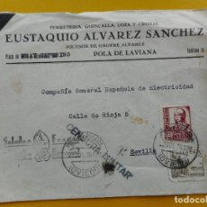 Sellos: ANTIGUO SOBRE.FERRETERIA.EUSTAQUIO ALVAREZ SANCHEZ.POLA DE LAVIANA.ASTURIAS.1938.GUERRA CIVIL. Lote 271817903