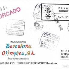 Sellos: MUY RARO FRANQUEO CONCERTADO 02/1992 JUEGOS OLIMPICOS EN CARTA CERTIFICADA 23 MAYO 1992 BARCELONA.. Lote 276455693