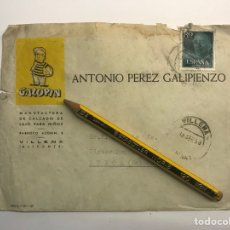 Sellos: VILLENA, SOBRE CIRCULADO, GALOPÍN FABRICA DE CALZADO, ANTONIO PÉREZ GALIPIENZO (A.1958) DECORADO... Lote 277284993