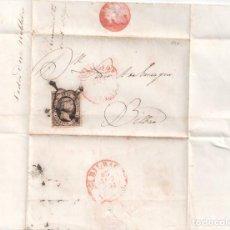 Sellos: ENVUELTA DE VALLADOLID A BILBAO BAEZA DE SALIDA Y LLEGADA 1851. Lote 279589103