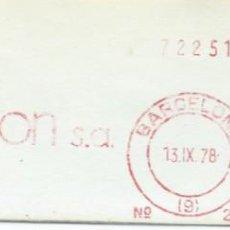 Sellos: 1978. BARCELONA. FRANQUEO MECÁNICO. FRAGMENTO. SEDUNION S.A. MÁQUINA 245.. Lote 280111868