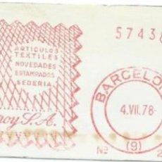 Sellos: 1978. BARCELONA. FRANQUEO MECÁNICO. FRAGMENTO. DOMINGO PURROY S.A. MÁQUINA 243. ARTÍCULOS TEXTILES.. Lote 280112128