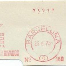 Sellos: 1975. BARCELONA. FRANQUEO MECÁNICO. FRAGMENTO. RIVIERE S.A. MÁQUINA 180. TEJIDOS METÁLICOS.. Lote 280113038