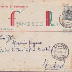 Timbres: HP4- 9- CARTA PUBLICIDAD LABORATORIOS RUIZ CARIÑENA- TOBED (ZARAGOZA) 1945. POLVOS SALUS. CON TEXTO. Lote 286572038