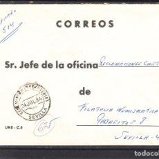 Sellos: CORREOS Y FECHADOR RECLAMACIONES (CARTERIA) SEVILLA. Lote 288964113