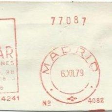Sellos: 1979. MADRID. FRANQUEO MECÁNICO. FRAGMENTO. AGUILAR EDICIONES. MÁQUINA 4082.. Lote 289537168