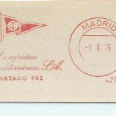 Sellos: 1976. MADRID. FRANQUEO MECÁNICO. FRAGMENTO. METER CUT. COMPAÑÍA TRASMEDITERRÁNEA. MÁQUINA 4219.. Lote 289538308