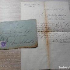Sellos: ANTIGUA CARTA FRANQUEADA.ECHEVARRIA,CARNICERO Y CIA.BARCELONA 1909. SAN SEBASTIAN.. Lote 290117753