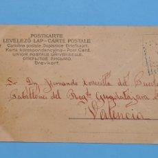 Sellos: VALENCIA - TARJETA POSTAL ROMANTICA CIRCULADA 12/3/1904 - CADETE MATASELLO ROMBO DE PUNTOS AZUL. Lote 293958178