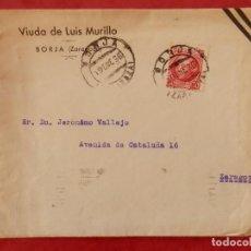 Sellos: BORJA ZARAGOZA LOTE 4 SOBRES CIRCULADOS CON MEMBRETES PUBLICITARIOS AÑOS 1936-67. Lote 294127518