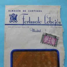 Sellos: SOBRE CARTA PUBLICITARIA - ALMACEN DE CURTIDOS FORTUNATO LOBEJON SELLO COMERCIAL DORSO MADRID 1946. Lote 294993948