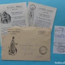 Sellos: SOBRE CARTA PUBLICITARIA LOURDES FATIMA CON 2 HOJAS MARIANAS Y GIRO - ALCALA DE HENARES MADRID 1983. Lote 294995228