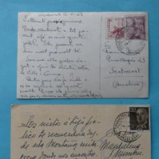 Sellos: MONTSERRAT BARCELONA - LOTE 2 POSTALES FECHADOR ESTAFETA DEL MONASTERIO SELLOS FRANCO 1947 Y 1959. Lote 295001938