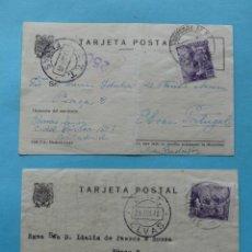 Sellos: LOTE 2 TARJETAS CIRCULADAS A PORTUGAL FECHADOR SUCURSAL Nº 6 + CENSURA GUBERNATIVA MADRID 1943. Lote 295030568
