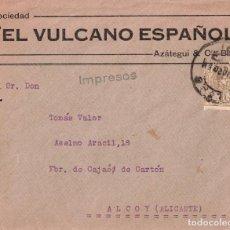 Sellos: EL VULCANO ESPAÑOL - BILBAO - SOBRE CIRCULADO DESTINATARIO EN ALCOY - AÑO 1920. Lote 295504578