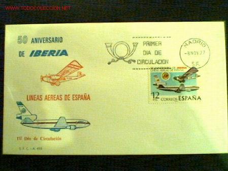 SOBRE PRIMER DÍA DE CIRCULACIÓN 50 ANIVERSARIO DE IBERIA 8 NOVIEMBRE 1977 (Sellos - Historia Postal - Sello Español - Sobres Primer Día y Matasellos Especiales)
