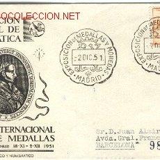 Sellos: CARTA CON MATASELLO EXPOSICIÓN DE MEDALLAS Y MONEDAS MADRID, 2 DICIEMBRE 1951. Lote 18767729