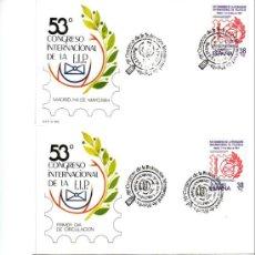 Sellos: FIP FEDERACION INTERNACIONAL DE FILATELIA 53 CONGRESO MADRID 1984 DOS SOBRES PRIMER DIA Y MATASELLOS. Lote 14839529