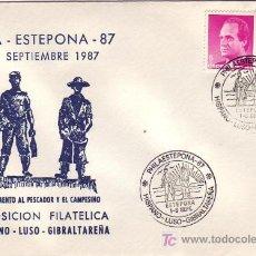 Sellos - MONUMENTO AL PESCADOR Y AL CAMPESINO EXPOSICION, ESTEPONA (MALAGA) 1987. MATASELLOS SOBRE ILUSTRADO. - 3600374