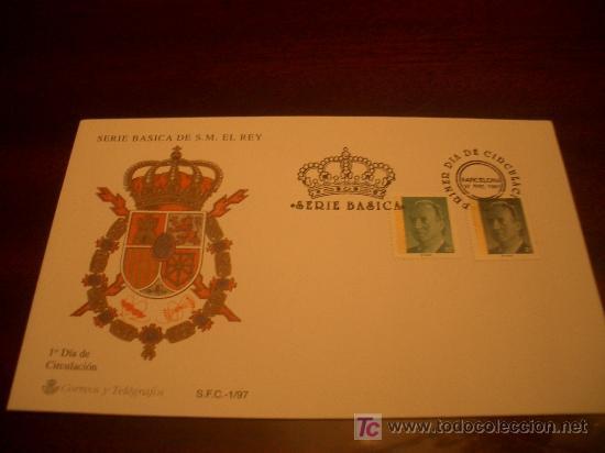 SOBRE PRIMER DIA SERIE BASICA S.M. EL REY 1997 (Sellos - Historia Postal - Sello Español - Sobres Primer Día y Matasellos Especiales)