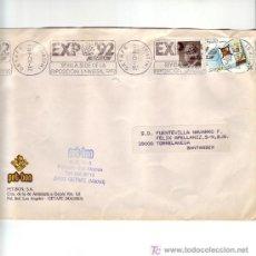Sellos: SEVILLA SEDE DE LA EXPOSICION UNIVERSAL 1992, GETAFE (MADRID) 1988. MATASELLOS RODILLO EN CARTA GMPM. Lote 4135779