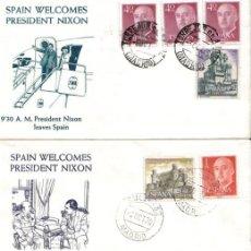 Sellos: EL PRESIDENTE NIXON VISITA MADRID AÑO 70, TRES SOBRES PRIMER DIA EMISION . Lote 26747076
