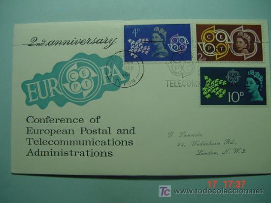 9396 GRAN BRETAÑA UK 1961 TEMA EUROPA FDC SPD SOBRE PRIMER DIA EMISION MAS EN COSAS&CURIOSAS (Sellos - Historia Postal - Sello Español - Sobres Primer Día y Matasellos Especiales)