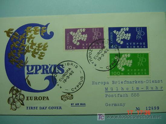 9392 CHIPRE CYPRUS 1961 TEMA EUROPA FDC SPD SOBRE PRIMER DIA EMISION MAS EN COSAS&CURIOSAS (Sellos - Historia Postal - Sello Español - Sobres Primer Día y Matasellos Especiales)