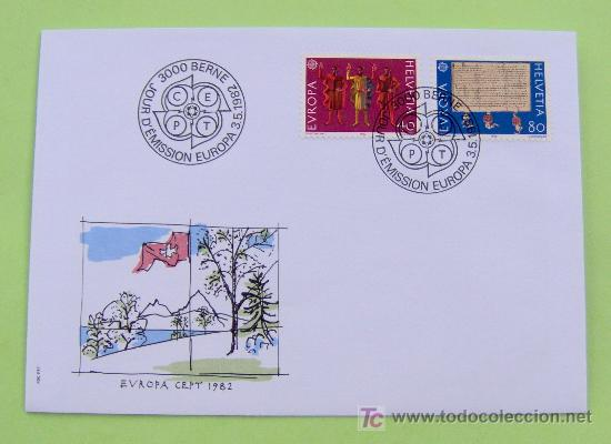 FDC SUIZA. AÑO 1982. EUROPA. HISTORIA. (Sellos - Historia Postal - Sello Español - Sobres Primer Día y Matasellos Especiales)