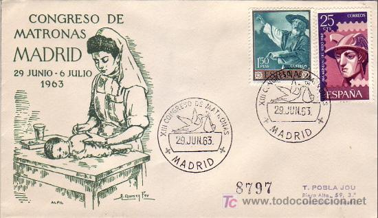 MEDICINA MATERNIDAD PEDIATRIA MATRONAS XIII CONGRESO, MADRID 1963. MATASELLOS SOBRE CIRCULADO ALFIL (Sellos - Historia Postal - Sello Español - Sobres Primer Día y Matasellos Especiales)