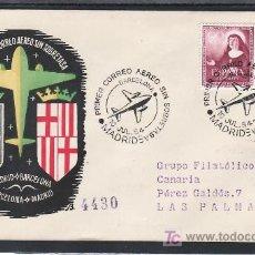 Sellos: 1954-10/07 MADRID Y REVERSO 11/07 BARCELONA, CIRCULADA CERTIFICADA, PRIMER CORREO AEREO SIN SOBRETAS. Lote 11826807