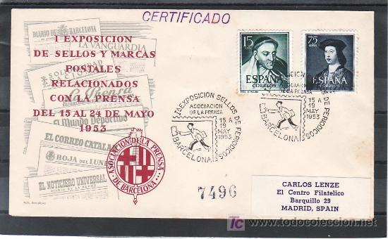 1953-15/05 BARCELONA, LITERATURA, I EXPOSICION SELLOS DE PERIODICOS, ASOCIACION DE LA PRENSA, (Sellos - Historia Postal - Sello Español - Sobres Primer Día y Matasellos Especiales)