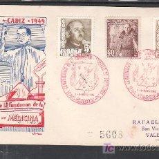 Sellos: 1949-01/05 CADIZ, CIRCULADO CERTIFICADO, II CENTº DE LA FUNDACION DE LA FACULTAD DE MEDICINA, . Lote 11662994