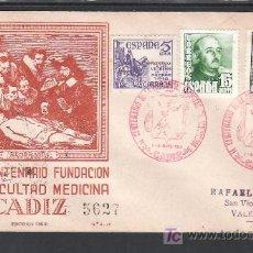 Sellos: 1949-01/05 CADIZ, CIRCULADO CERTIFICADO, II CENTº DE LA FUNDACION DE LA FACULTAD DE MEDICINA, . Lote 11647078