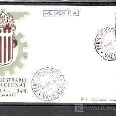 Sellos: 1948-10/05 VALENCIA, MARCA PRIMER DIA, SOBRE ILUSTRADO, FERIA MUESTRARIO (VALENCIA). Lote 10902006