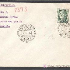 Sellos: 1947-09/10 BARCELONA, CIRCULADA CERTIFICADA, 1ª EXPOSICION FILATELICO-MARITIMO REALES ATARAZANAS. Lote 9956945