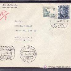 Sellos: 1947-01/06 MADRID, CIRCULADA, SOBRE CON CERTIFICADO FERIA NAC. DEL LIBRO Y ORDINARIO FERIA NAC. LIBR. Lote 9947350