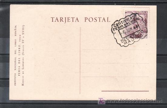 1944-06/06 MADRID, TARJETA EX LIBRIS, CERTIFICADO FERIA NACIONAL DEL LIBRO, + FOTO (Sellos - Historia Postal - Sello Español - Sobres Primer Día y Matasellos Especiales)