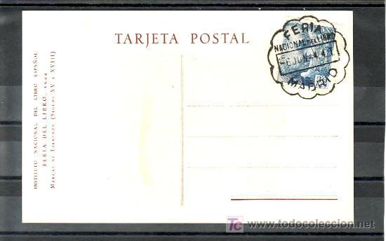 1944-06/06 MADRID, TARJETA EX LIBRIS, FERIA NACIONAL DEL LIBRO, + FOTO (Sellos - Historia Postal - Sello Español - Sobres Primer Día y Matasellos Especiales)