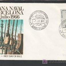 Sellos: 1966-01/07 BARCELONA, CON SELLO 1737 PRIMER DIA, BARCO, EXPOSICION TEMAS NAVALES, . Lote 7889817